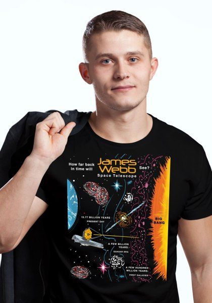 """Closeup of a man wearing NASA shirt decorated with unique """"James Webb Space Telescope"""" design in black crew neck style"""