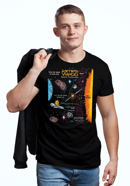 """Man wearing a NASA shirt decorated with unique """"James Webb Space Telescope"""" design in black crew neck style"""