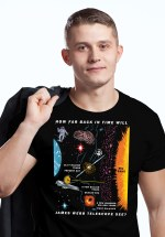 "Closeup of man wearing unique ""James Webb Space Telescope"" t-shirt in black crew neck style"
