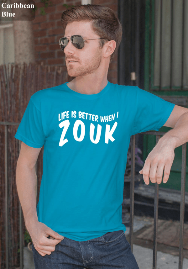 "Man wearing Zouk T-shirt decorated with unique ""Life is better when I Zouk"" design in caribbean blue crew neck style"