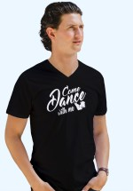 "Man wearing Zouk t-shirt decorated with unique ""Come Dance with me"" design in black v-neck style"