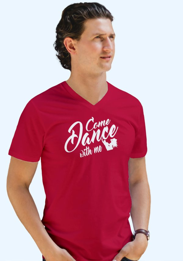 "Man wearing Zouk t-shirt decorated with unique ""Come Dance with me"" design in red v-neck style"