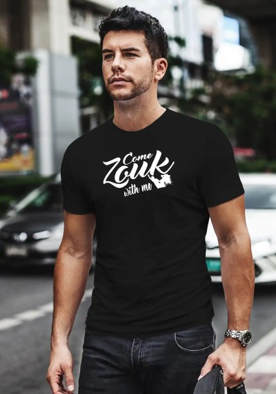 "Man wearing Zouk T-shirt decorated with unique ""Come Zouk with me"" design in black crew neck style"