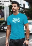 """Man wearing Zouk T-shirt decorated with unique """"Come Zouk with me"""" design in caribbean blue crew neck style"""