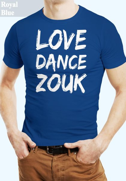 "Man wearing Zouk T-shirt decorated with unique ""Love Dance Zouk"" design in blue crew neck style"