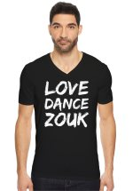 """Man wearing Zouk T-shirt decorated with unique """"Love Dance Zouk"""" design in black v-neck style"""