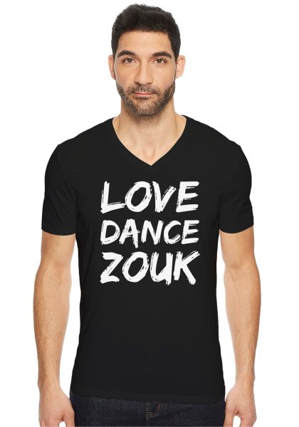 "Man wearing Zouk T-shirt decorated with unique ""Love Dance Zouk"" design in black v-neck style"