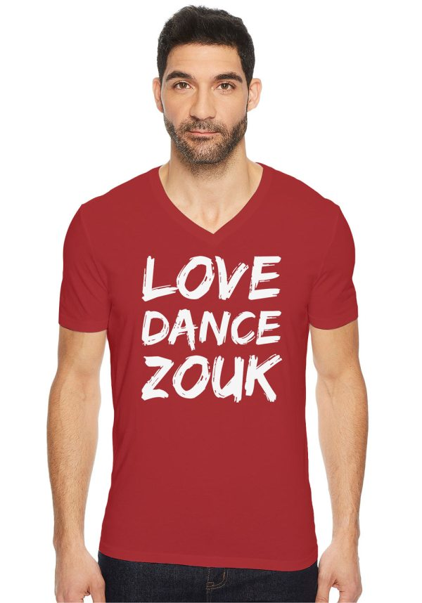 """Man wearing Zouk T-shirt decorated with unique """"Love Dance Zouk"""" design in red v-neck style"""