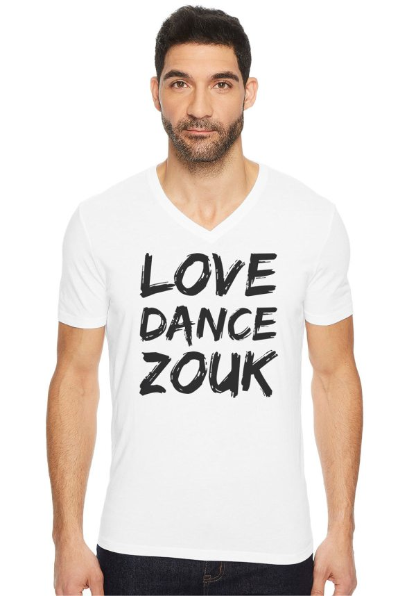"""Man wearing Zouk T-shirt decorated with unique """"Love Dance Zouk"""" design in white v-neck style"""