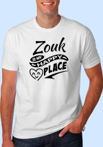 """Man wearing Zouk t-shirt decorated with """"Zouk is my HAPPY place"""" (white, crew neck style)"""