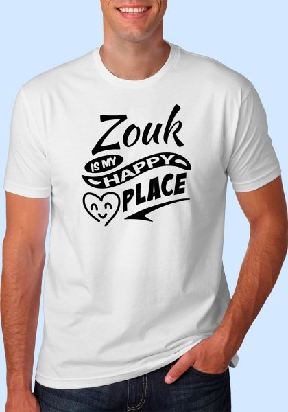 "Man wearing Zouk t-shirt decorated with ""Zouk is my HAPPY place"" (white, crew neck style)"