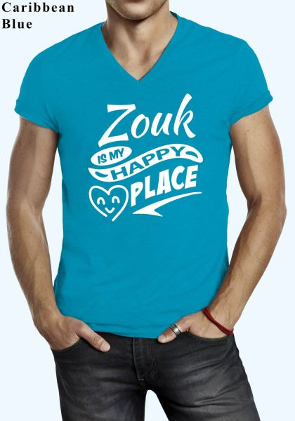 "Man wearing Zouk t-shirt decorated with ""Zouk is my HAPPY place"" (caribbean blue, v-neck style)"