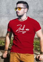 "Man wearing Zouk T-shirt decorated with unique ""Zouk me"" design (red crew neck style)"
