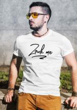 "Man wearing Zouk T-shirt decorated with unique ""Zouk me"" design (white crew neck style)"