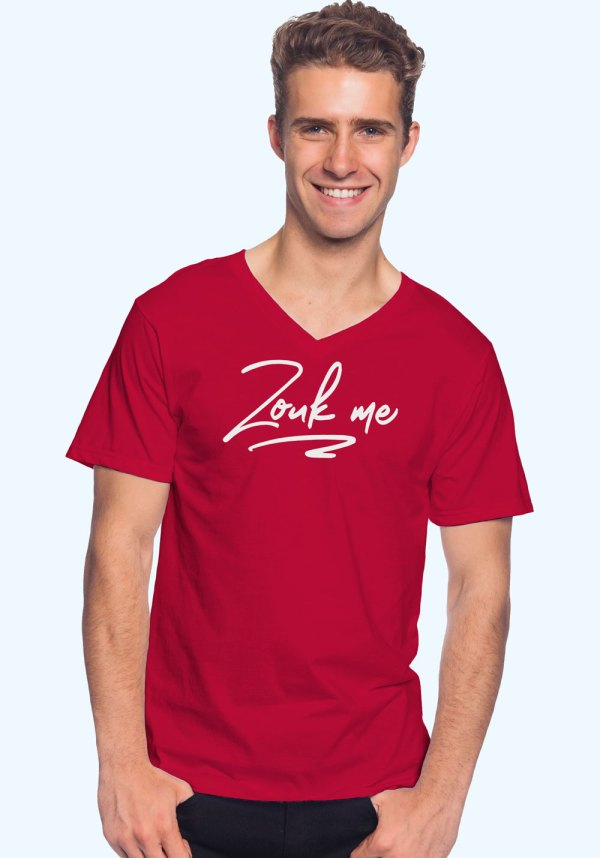"Man wearing Zouk T-shirt decorated with unique ""Zouk me"" design (red v-neck style)"