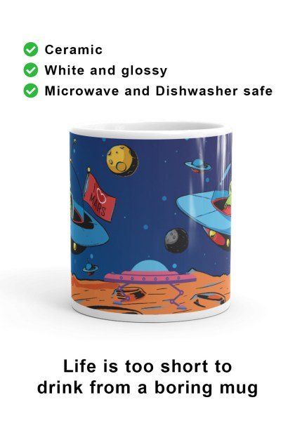Front view of a fun, unique, I Love Mars mug to proudly celebrate the greatest and most challenging endeavour humanity has ever embarked on. For the first humans to live and work on Mars