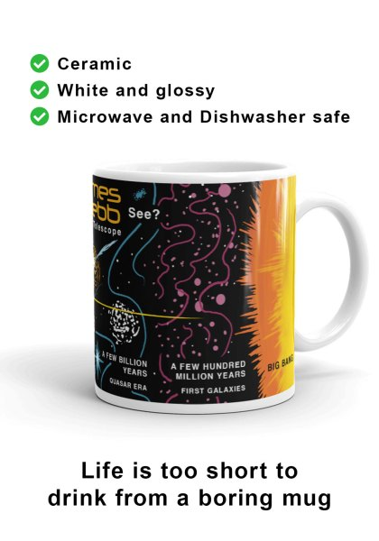 Right-hand view of unique James Webb Space Telescope mug design to commemorate the launch of James Webb and celebrate it as the most powerful space telescope humanity has ever built.