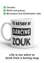 "Zouk Coffee Mug decorated with a unique ""I'd Rather Be Dancing Zouk"" design, star version (left-hand view) by Ooh La La Zouk."