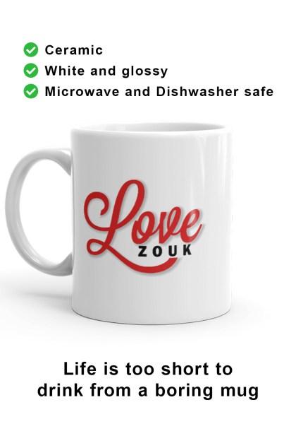 Left-hand view of unique Love Zouk Coffee Mug. Made with love by Ooh La La Zouk