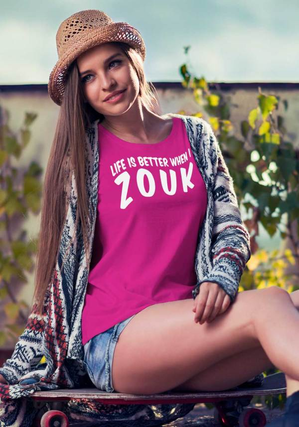 "Woman wearing Zouk T-shirt decorated with unique ""Life is better when I Zouk"" design in pink crew neck style"