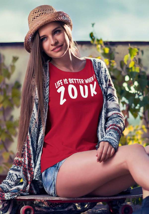"Woman wearing Zouk T-shirt decorated with unique ""Life is better when I Zouk"" design in red crew neck style"