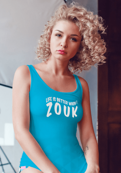 "Woman wearing Zouk T-shirt decorated with unique ""Life is better when I Zouk"" design in blue tank top style"