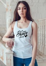 """Woman wearing Zouk t-shirt decorated with unique """"Come Dance with me"""" design in white tank top style"""