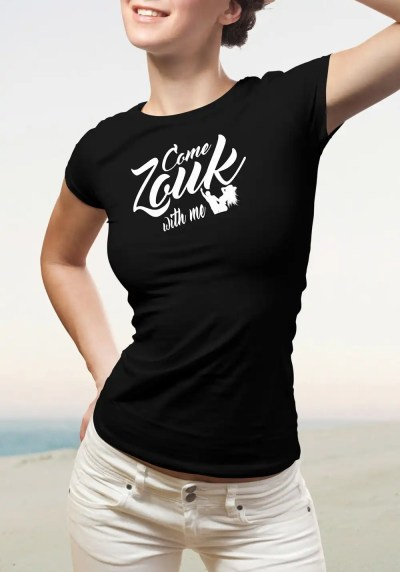 "Woman wearing Zouk T-shirt decorated with unique ""Come Zouk with me"" design in black crew neck style"