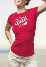 """Woman wearing Zouk T-shirt decorated with unique """"Come Zouk with me"""" design in red crew neck style"""