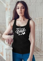 "Woman wearing Zouk T-shirt decorated with unique ""Come Zouk with me"" design in black tank top style"