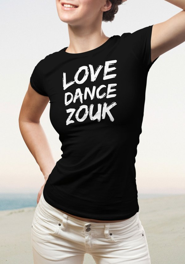 """Woman wearing Zouk T-shirt decorated with unique """"Love Dance Zouk"""" design in black crew neck style"""
