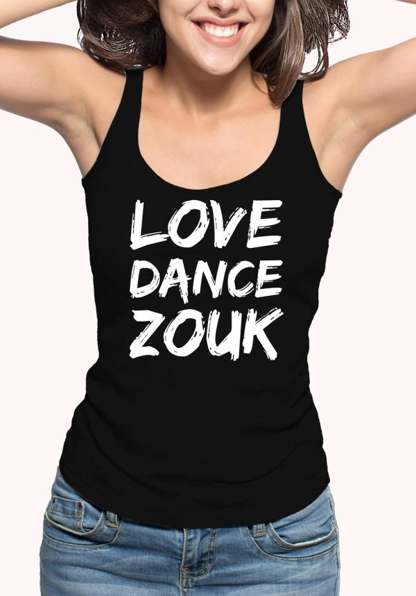 "Woman wearing Zouk T-shirt decorated with unique ""Love Dance Zouk"" design in black tank top style"