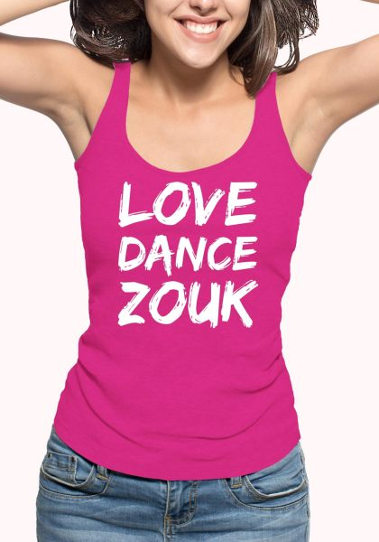 "Woman wearing Zouk T-shirt decorated with unique ""Love Dance Zouk"" design in pink tank top style"
