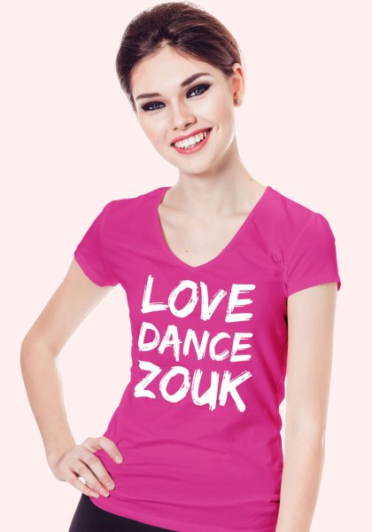 "Woman wearing Zouk T-shirt decorated with unique ""Love Dance Zouk"" design in pink v-neck style"