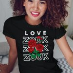 Woman wearing Zouk T-shirt decorated with unique Zouk Bouquet design (black crew neck style)