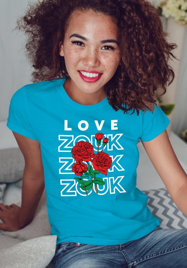 Woman wearing Zouk T-shirt decorated with unique Zouk Bouquet design (blue crew neck style)