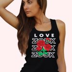 Woman wearing Zouk T-shirt decorated with unique Zouk Bouquet design (black tank top style) close up view