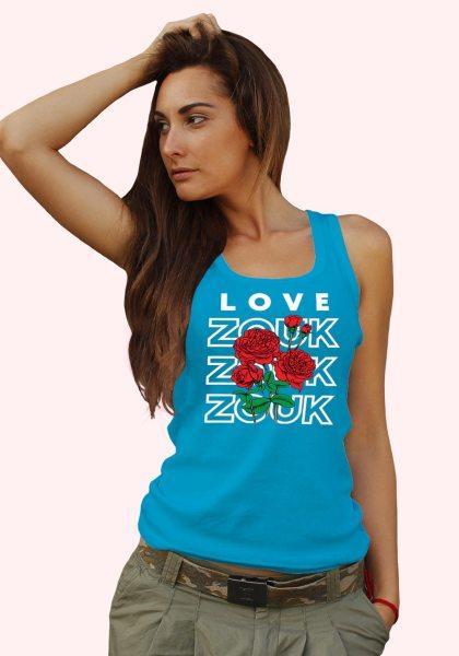 Woman wearing Zouk T-shirt decorated with unique Zouk Bouquet design (blue tank top style)