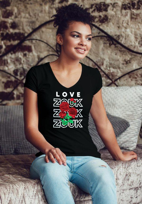 Woman wearing Zouk T-shirt decorated with unique Zouk Bouquet design (black v-neck style)