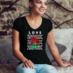 Woman wearing Zouk T-shirt decorated with unique Zouk Bouquet design (black v-neck style)