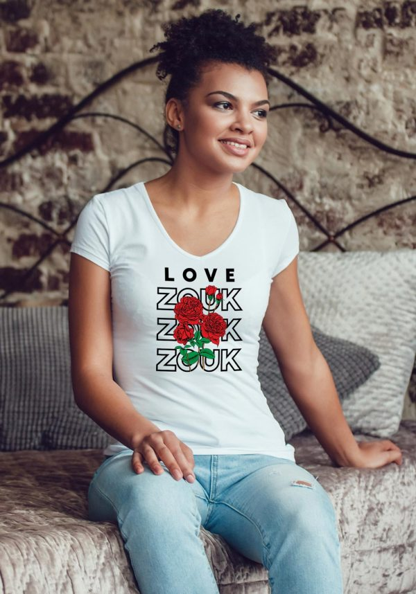Woman wearing Zouk T-shirt decorated with unique Zouk Bouquet design (white v-neck style)
