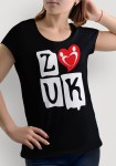 "Woman wearing Zouk T-shirt decorated with ""deeply connected Zouk Dancers in a unique heart design (black, crew neck style) close-up"