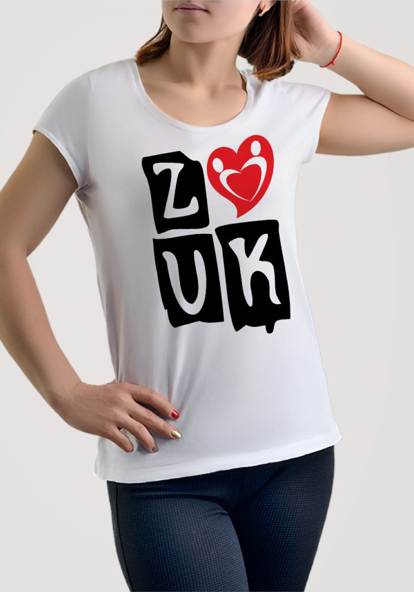 "Woman wearing Zouk T-shirt decorated with ""deeply connected Zouk Dancers in a unique heart design (white, crew neck style)"