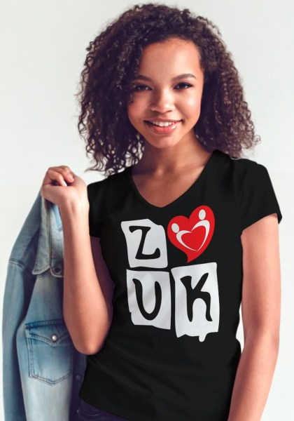 "Woman wearing Zouk T-shirt decorated with ""deeply connected Zouk Dancers in a unique heart design (black, v-neck style) close-up"