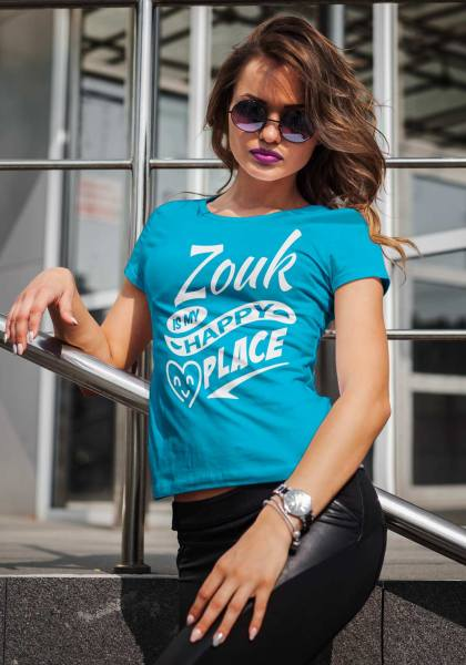 """Woman wearing Zouk T-shirt decorated with unique """"Zouk is my happy place"""" design (blue crew neck style)"""