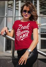 "Woman wearing Zouk T-shirt decorated with unique ""Zouk is my happy place"" design (red crew neck style)"