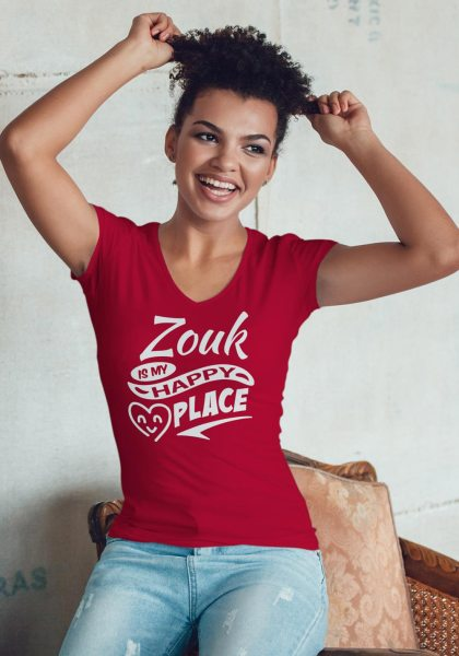 """Woman wearing Zouk T-shirt decorated with unique """"Zouk is my happy place"""" design (red v-neck style)"""