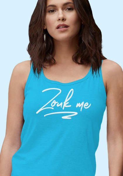 """Woman wearing Zouk t-shirt decorated with unique """"Zouk me"""" design in a blue tank top style."""