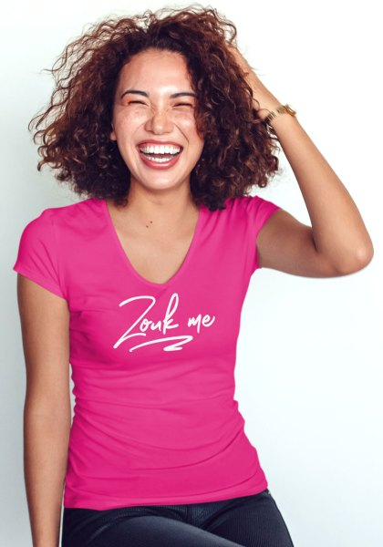 "Woman wearing Zouk T-shirt decorated with unique ""Zouk me"" design (pink v-neck style)"