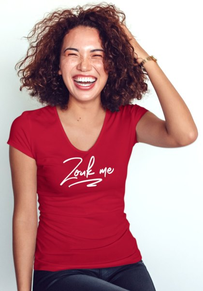 "Woman wearing Zouk T-shirt decorated with unique ""Zouk me"" design (red v-neck style)"